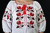 Традиционная белая женская вышиванка с розами, рукав  ¾  , фото 4