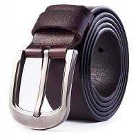 Подлинный кожаный поясной ремень с пряжкой для мужчин Кофейный