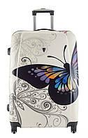 Чемодан Madisson 16820, белый с бабочкой, дорожный пластиковый чемодан на колесиках