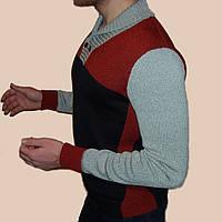 Вязаный мужской свитер с шалевым воротником