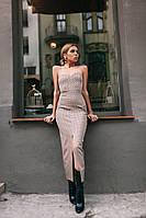 Платье с корсетной лентой Расцветки :горох на чёрном , горох на бежевой фото реал аива №314