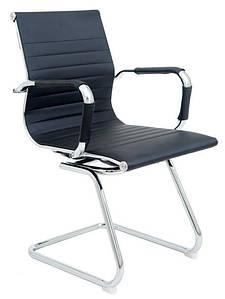Офисное кресло Richman Бали-CF на полозьях хром кожзам черный для персонала