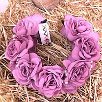 Ободок-веночек «Темно-розовые розы»
