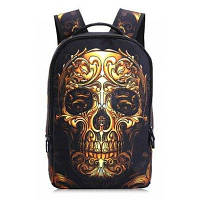 Модный рюкзак с изображением черепа головы для путешествий Золотой