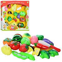 Игровой набор продукты 581-13 на липучке (игрушка продукты пазлы): 14 продуктов + досточка + нож