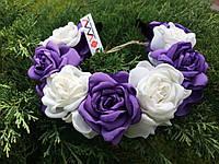 Ободок-веночек «Белые и сиреневые розы»