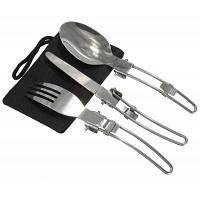 Портативный набор складных столовых приборов из нержавеющей стали ложка вилка нож посуда для кемпинга 3шт Серебристый
