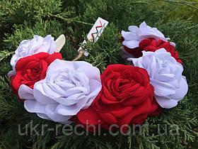 Ободок-веночек «Белые и красные розы»
