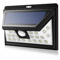 24 светодиодов 6000К Датчик движения солнечной энергии света Чёрный
