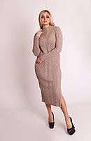 Теплое вязаное платье косичка 42-46 размер