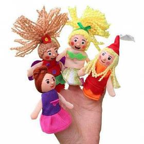 Кукольная игрушка на палец в форме сказочных персонажей 4шт - Цветной