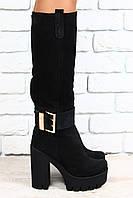 Сапоги зимние, темно-серые, замшевые, на небольшом устойчивом каблуке