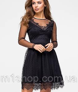 Расклешенное платье из сетки и кружева (5966ie)