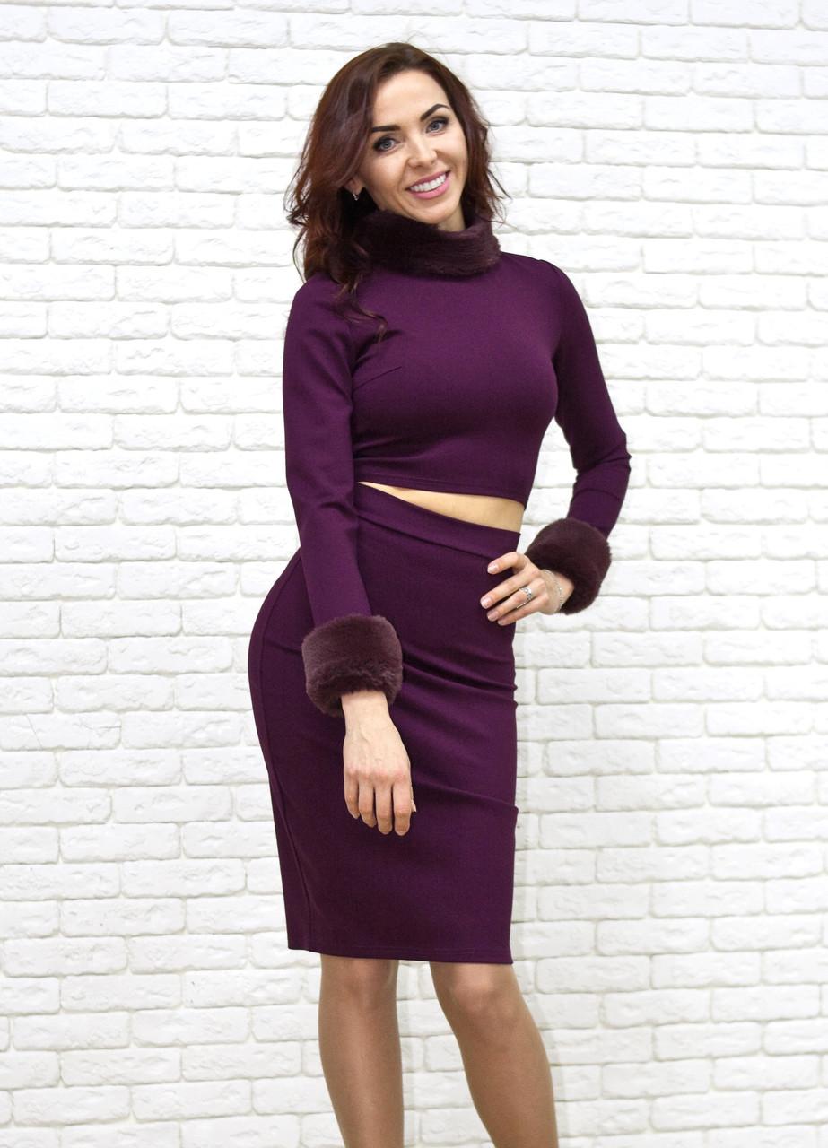 b40026909861 Костюм бордового цвета утяжка с меховыми манжетами и воротником - Интернет-магазин  одежды и обуви