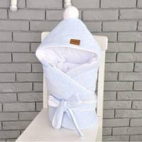 Велюровый конверт-одеяло на выписку MagBaby демисезон голубой