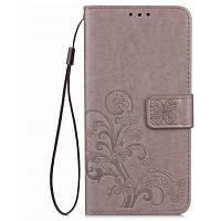 Счастливый Клевер кобура лист карточки удостоверения личности PU кожаный чехол для Huawei У6 про Серый