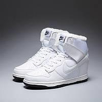 856fa085 Сникеры Nike WMNS Dunk Hight White С МЕХОМ. Зимние кроссовки найк. Теплые  кроссовки.