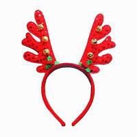 Модный головной обруч с оленьими рогами и бубенчиками рождественские украшения Красный