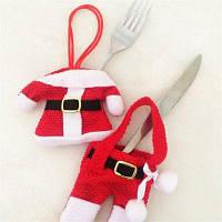 Рождественские украшения чехол для столовых приборов в виде костюма Деда Мороза 2шт Красный