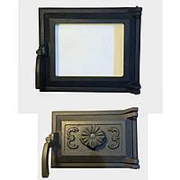 Дверца для печи со стеклом 36х33см комплект, дверка печная в грубу