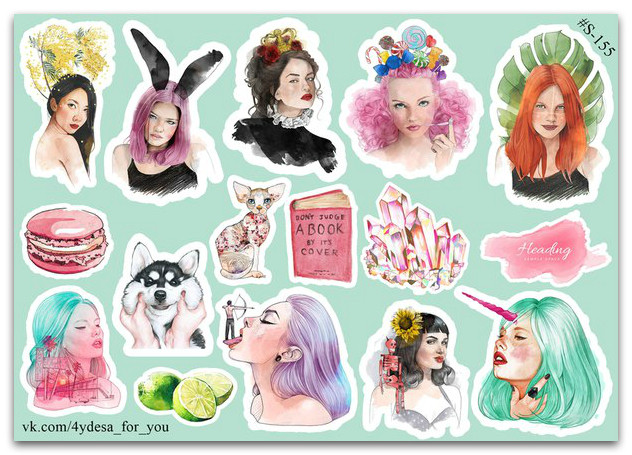 Stickers Pack Watercolor #155