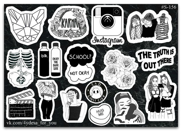 Stickers Pack Black&White #156