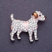 Брошка Собачка Тер'єр емаль у стразах дуже красива і блискуча розмір 4 см *3,5 см Mir-15537