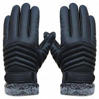 Зимние PU кожаный Велоспорт теплые перчатки для мужчин Чёрный