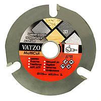 Универсальный 3-х зубый пильный диск Vatzo MultiCut 125мм на болгарку (УШМ), фото 1