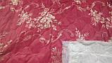 Жаккардовая матрасная ткань прошита синтепоном Красная, фото 2
