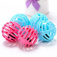 Пластиковые шары с колокольчиком игрушка для домашних животных 5шт Синий и розовый
