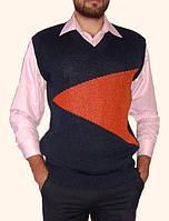 Вязаный мужской свитер без рукавов с V-образным вырезом