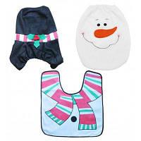 Рождественский набор для туалета чехол коврик дизайн снеговик Цветной