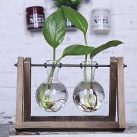 Две прозрачные стеклянные вазы с деревянным поддоном Цветной
