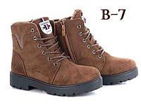 Коричневые женские ботинки на змейке и шнурках