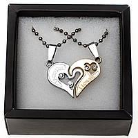 Парные кулоны две половинки сердца Silver Gold в подарочной упаковке