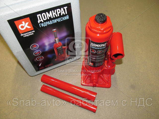 Домкрат бутылочный, 3т пластик, красный H=180/340  (арт. JNS-03PVC), ACHZX