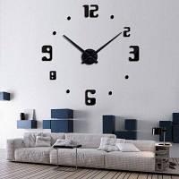 Времениподобным T4209 Сделай сам 3D-эффект наклейки на номера дизайн Настенные часы Чёрный