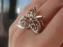 Серебряное кольцо Трилистник с позолотой 17 размер