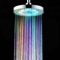 Цветов изменение светодиодная насадка для душа Очищающий фильтр распылителя Серебристый