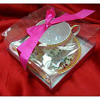 "Чашка+блюдце фарфор (210 мл)(ACS108-8) ""Розовый"" (h-6см, d-чашки - 8см, d-блюдца - 14см)"