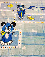 Микрофибровая простынь, покрывало Elway детское (110х140) Пес и кот ( голубой )