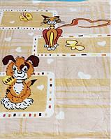 Микрофибровая простынь, покрывало Elway детское (110х140) Пес и кот ( бежевый )