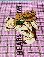 Микрофибровая простынь, покрывало Elway детское (110х140) Семья медведей ( розовый )