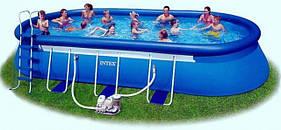 Овальный бассейн Oval Frame Pool 366 х 610 х 122см Intex 54934 (28194) в комплекте насос фильтр и аксессуары