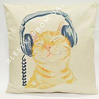 Декоративная диванная подушка с кот DJ 45х45см