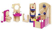 Набор для кукол Мебель для ванной Goki 51748G из натурального дерева