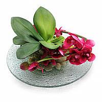 Цветок орхидеи на стеклянной подставке (d-21 см)