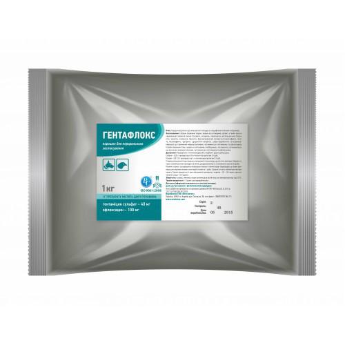Гентафлокс 1 кг комплексный антибиотик для лечения цыплят, бройлеров, индюшат, гусят, утят, телят и поросят