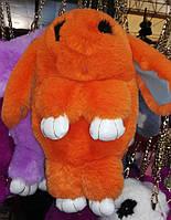 Меховая сумочка в виде кролика на цепочке оранжевая
